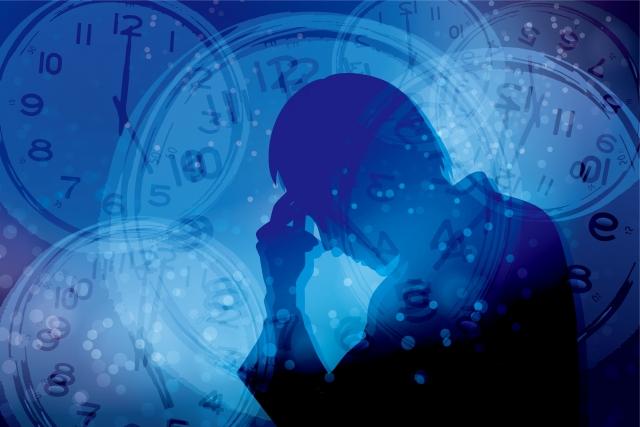ストレスを抱える男性と時間