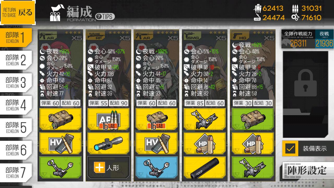 次面崩壊の編成2の装備